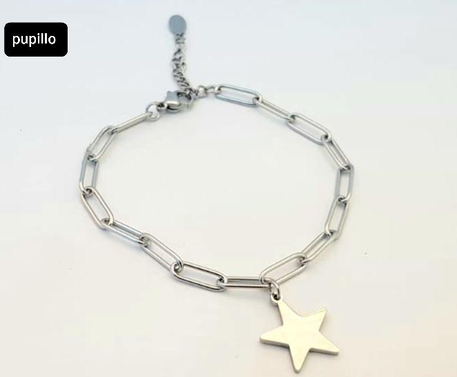 bracciale acciaio silver catena stella