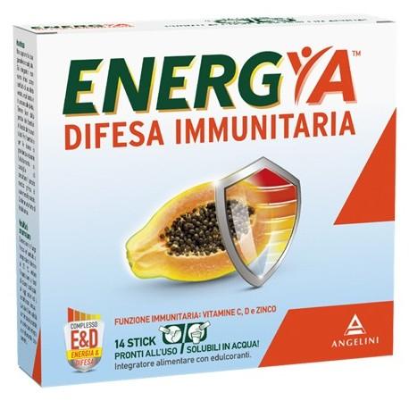 INTEGRATORE DIFESA IMMUNITARIA STANCHEZZA ENERGIA 14 STICK CON PAPAYA FERMENTATA, GINSENG, VITAMINA C, VITAMINA D, ZINCO, VITAMINA B5, VITAMINA B3.
