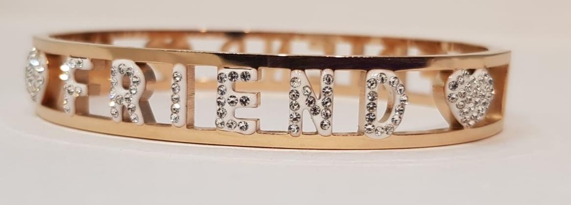 bracciale acciaio gold rose manetta  scritte friend strass