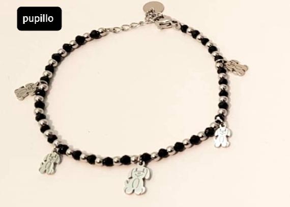 bracciale acciaio silver  perle vetro cagnolino