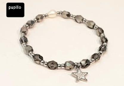 bracciale acciaio silver  perle vetro grigio  stella  strass