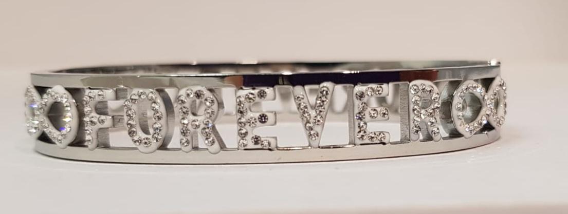bracciale acciaio silver manetta  scritte forever strass