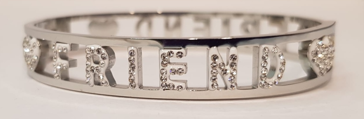 bracciale acciaio silver manetta  scritte friend strass