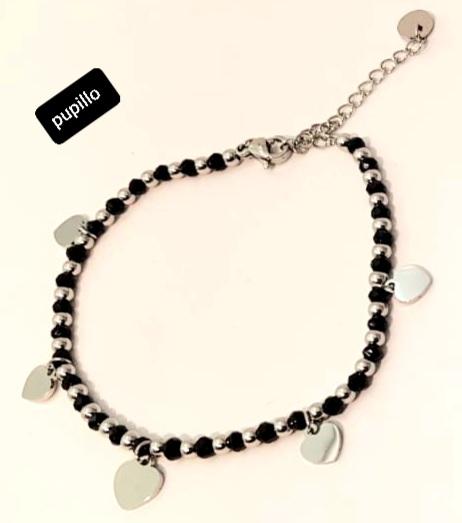 bracciale acciaio silver  perle vetro cuoricini