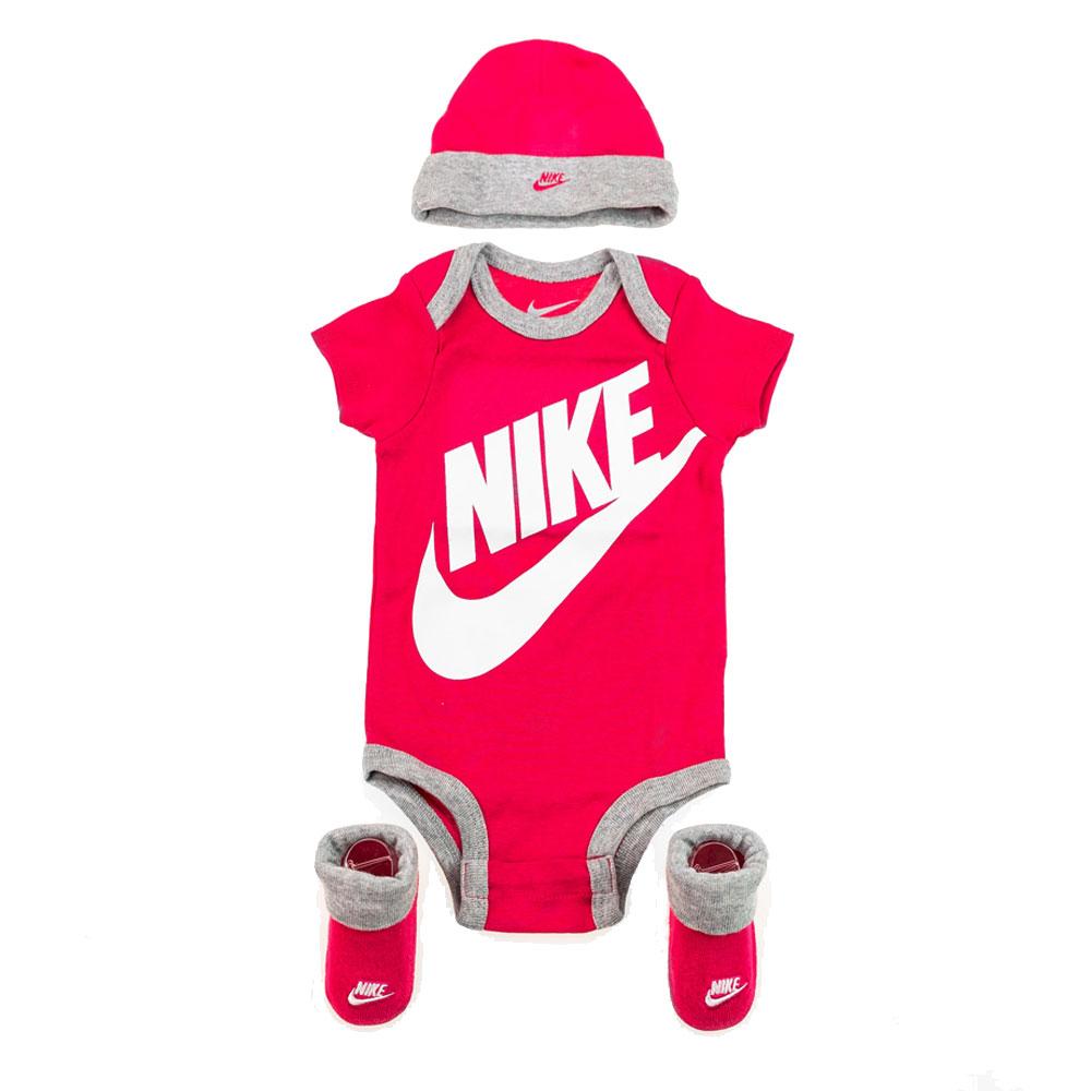 Nike Set Scarpe Cappello e Tutina da culla Fucsia Bianco da Neonata