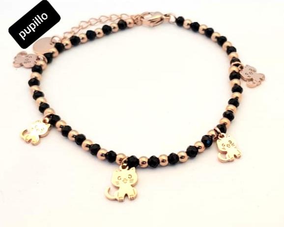 bracciale acciaio gold rose perle vetro gattino