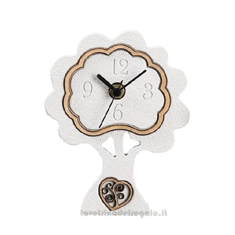 Orologio da tavolo Albero della Vita in marmo e legno 12x15 cm - Bomboniera