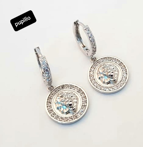 orecchino metallo silver schiona zirconi e pendente disco