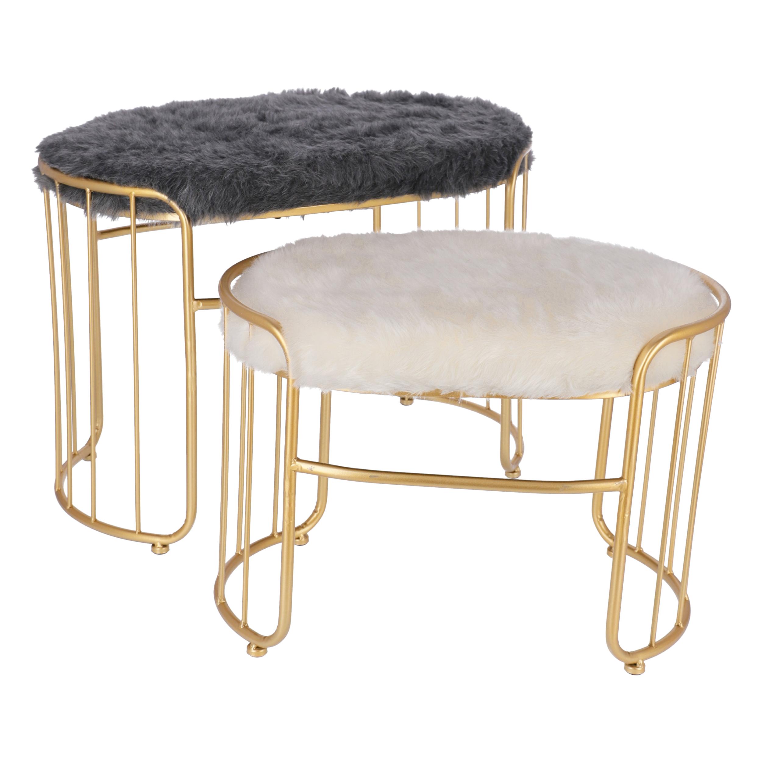 Pouf Glamour Ovale Set 2 pz