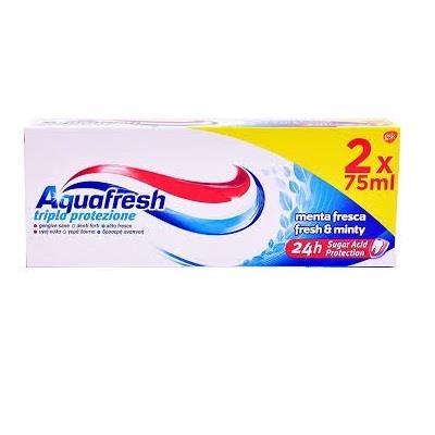AQUAFRESH Tripla Protezione Menta Fresca Dentifricio 75ml bi-pacco