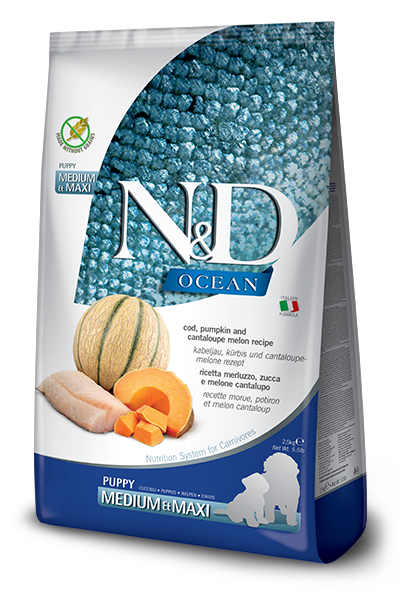 FARMINA N&D OCEAN PUPPY MEDIUM E MAXI ZUCCA, MERLUZZO E CANTALUPO GRAIN FREE