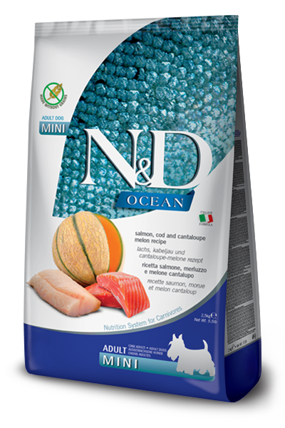 FARMINA N&D OCEAN ADULT MINI SALMONE, MERLUZZO E CANTALUPO GRAIN FREE