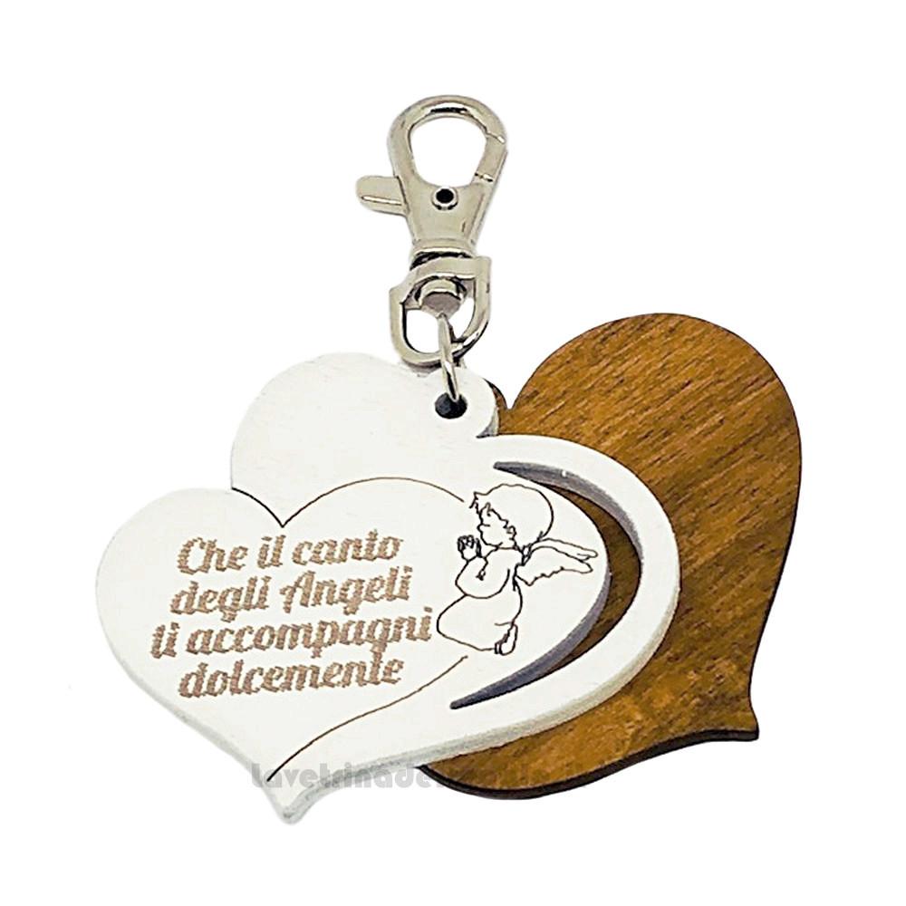 Portachiavi Cuore con Angelo e scritta in legno 5 cm - Bomboniera battesimo e comunione