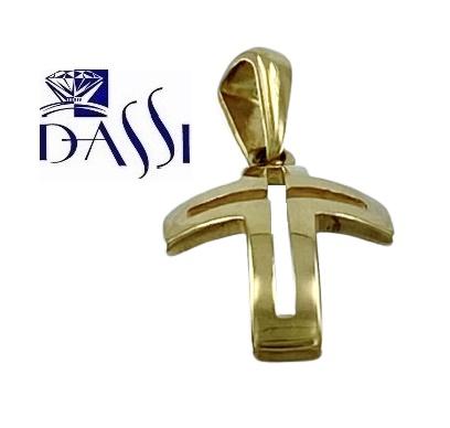 Ciondolo a croce in oro giallo 18kt bombata ed incisa a croce nel centro