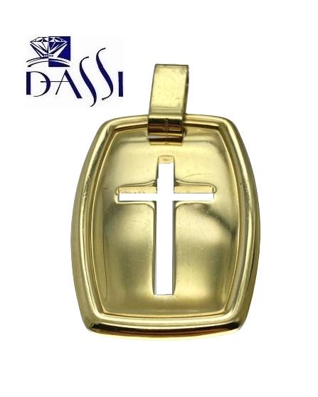 Medaglia rettangolare in oro giallo 18kt con inciso al suo centro una croce