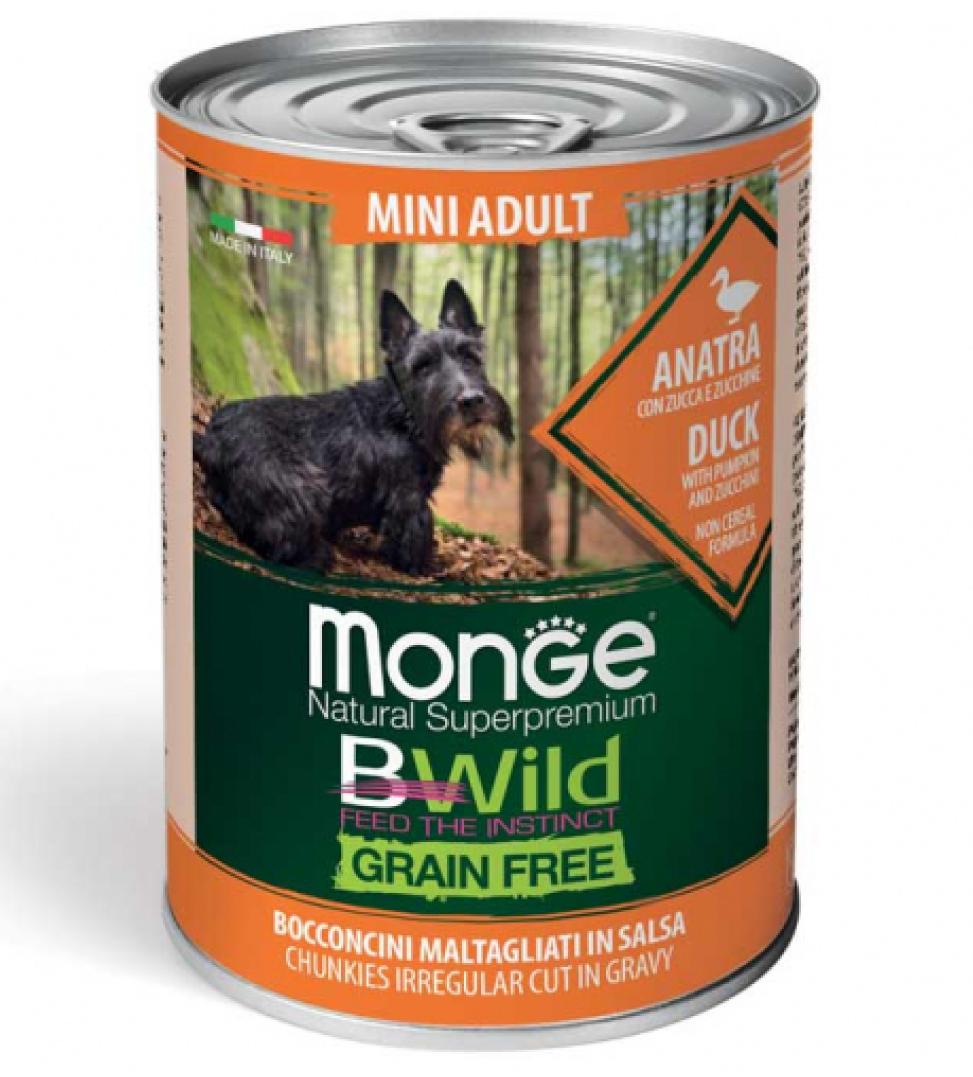 Monge - Bwild Grain Free - Mini Adult - Anatra - 400gr x 24 lattine
