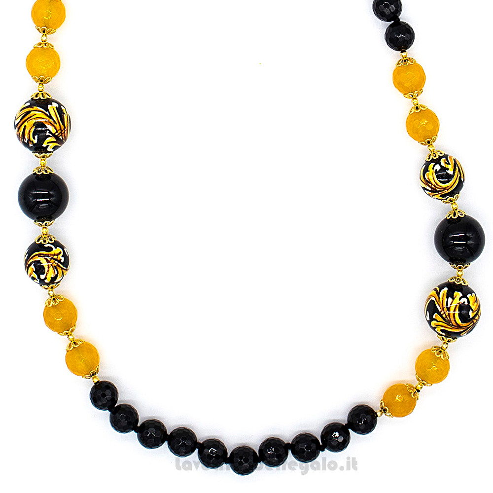 white onyx hard stones necklace and orange agate Caltagirone ceramic necklace Sicilian necklace