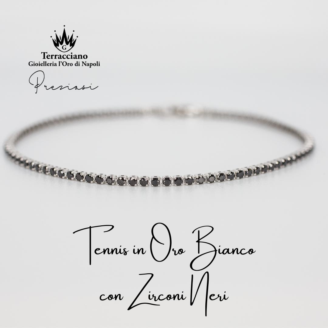 Tennis in Oro Bianco con Zirconi Neri