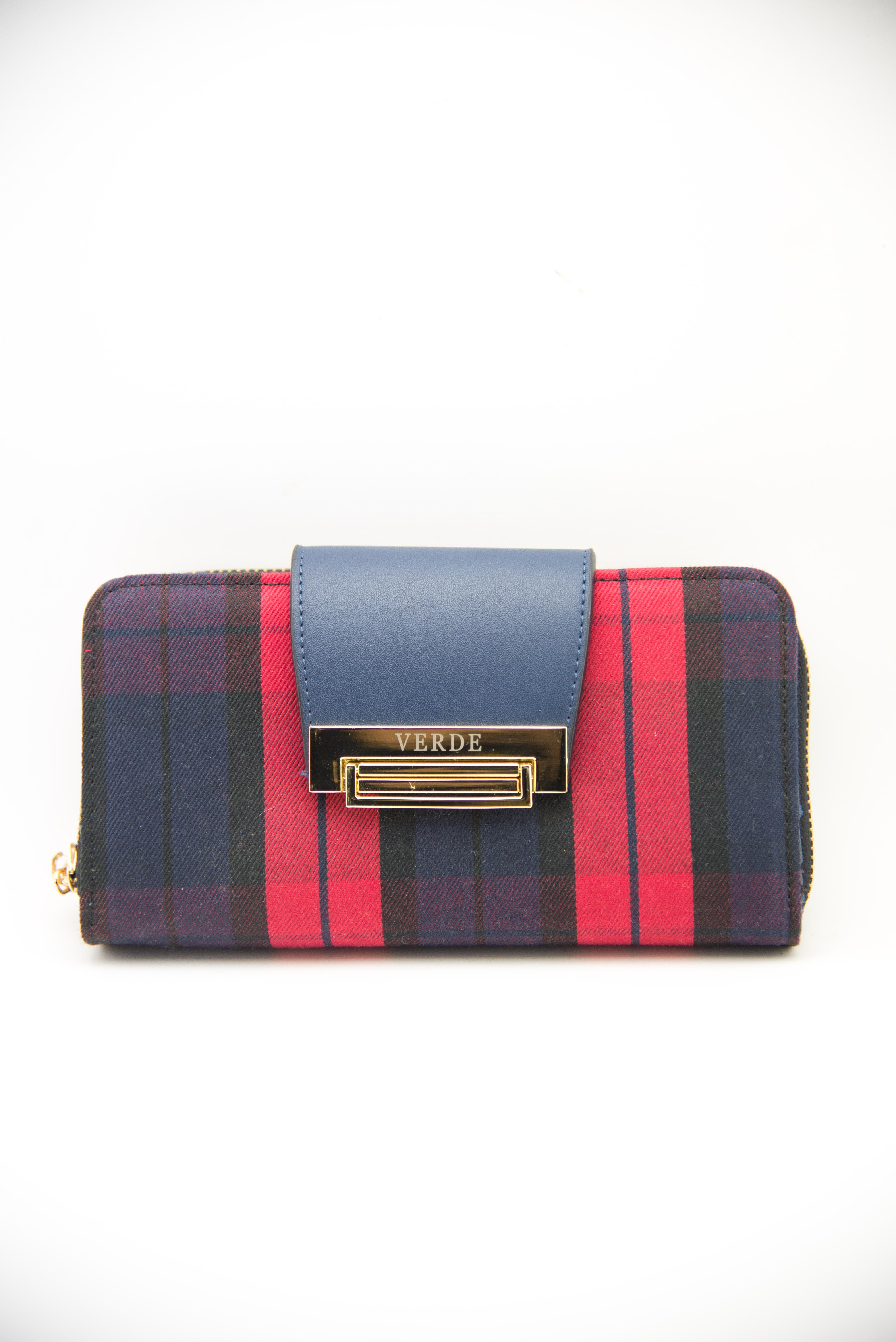 Portafoglio scozzese rosso e blu   Vendita online Portafogli donna