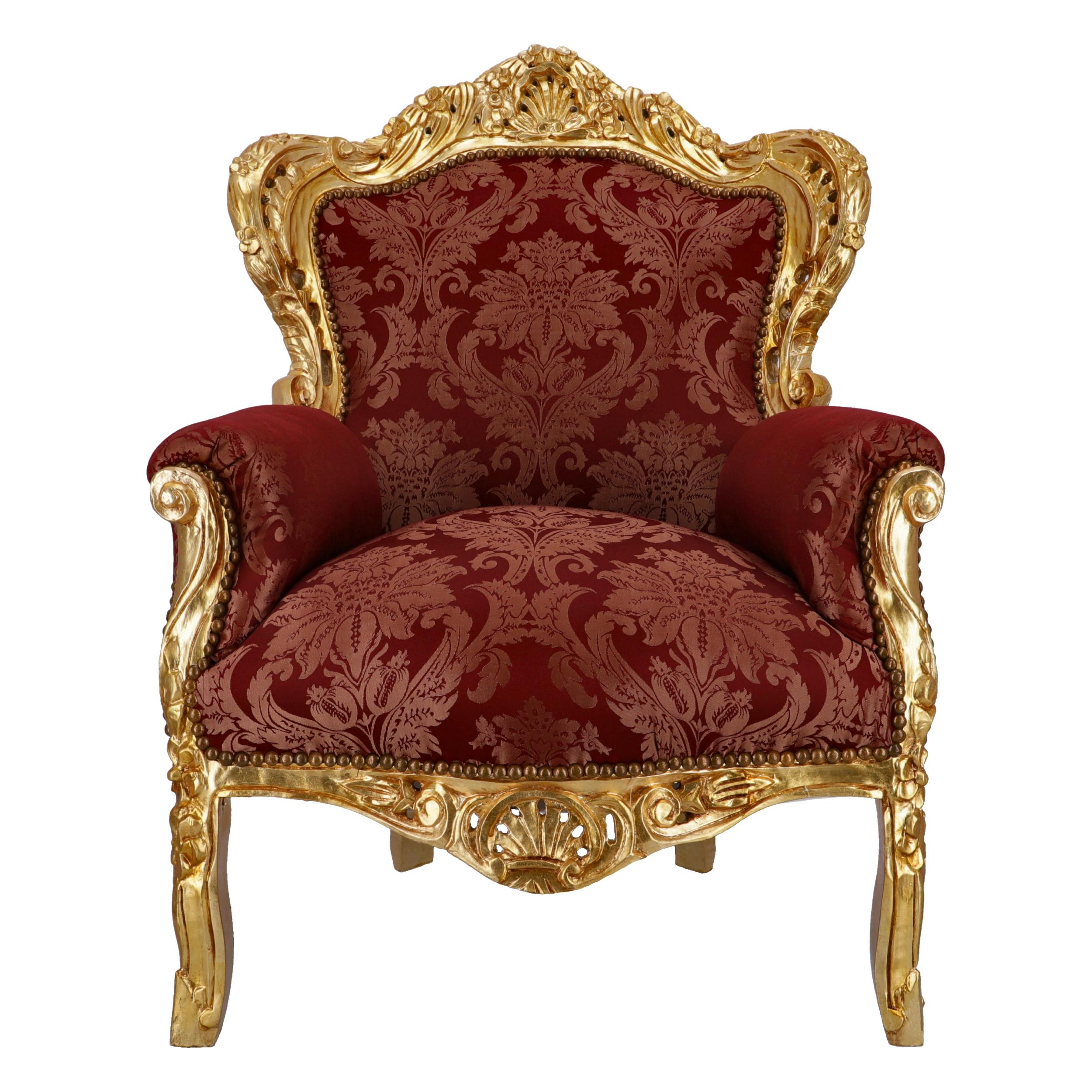 Poltrona Barok Oro Tessuto Damascato Rosso con Gemme