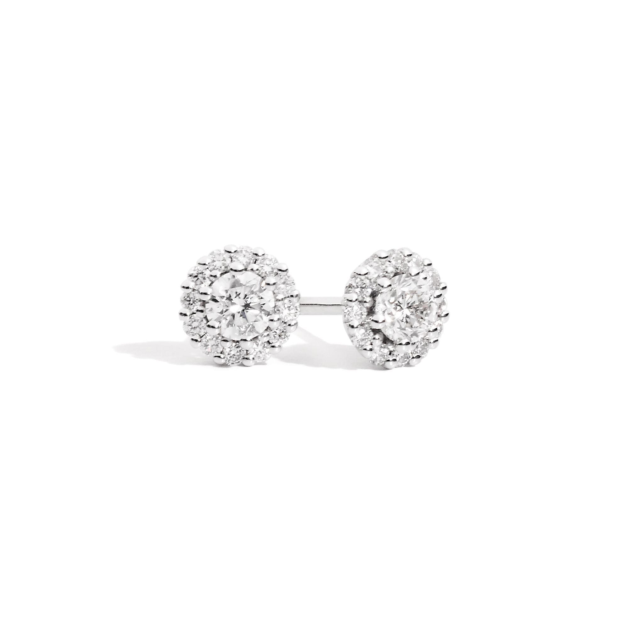 Orecchini punto luce con contorno in diamanti - SOFIA