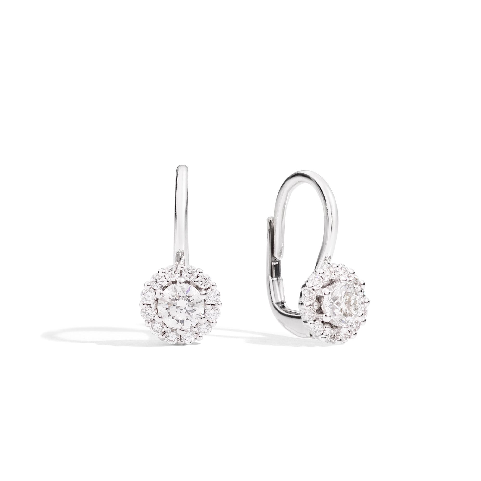 Orecchini punto luce a monachella con contorno in diamanti - SOFIA