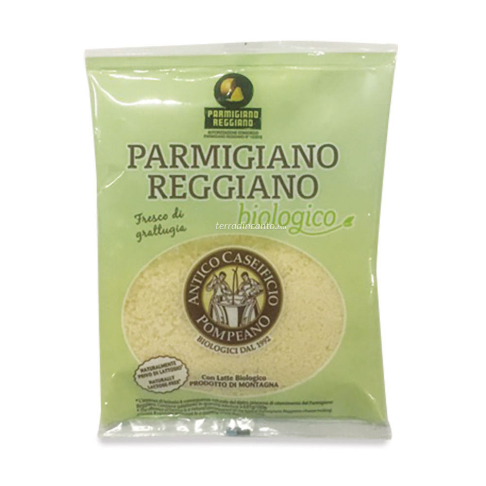 Parmigiano reggiano dop grattugiato, con latte prodotto di montagna Antico caseificio pompeano