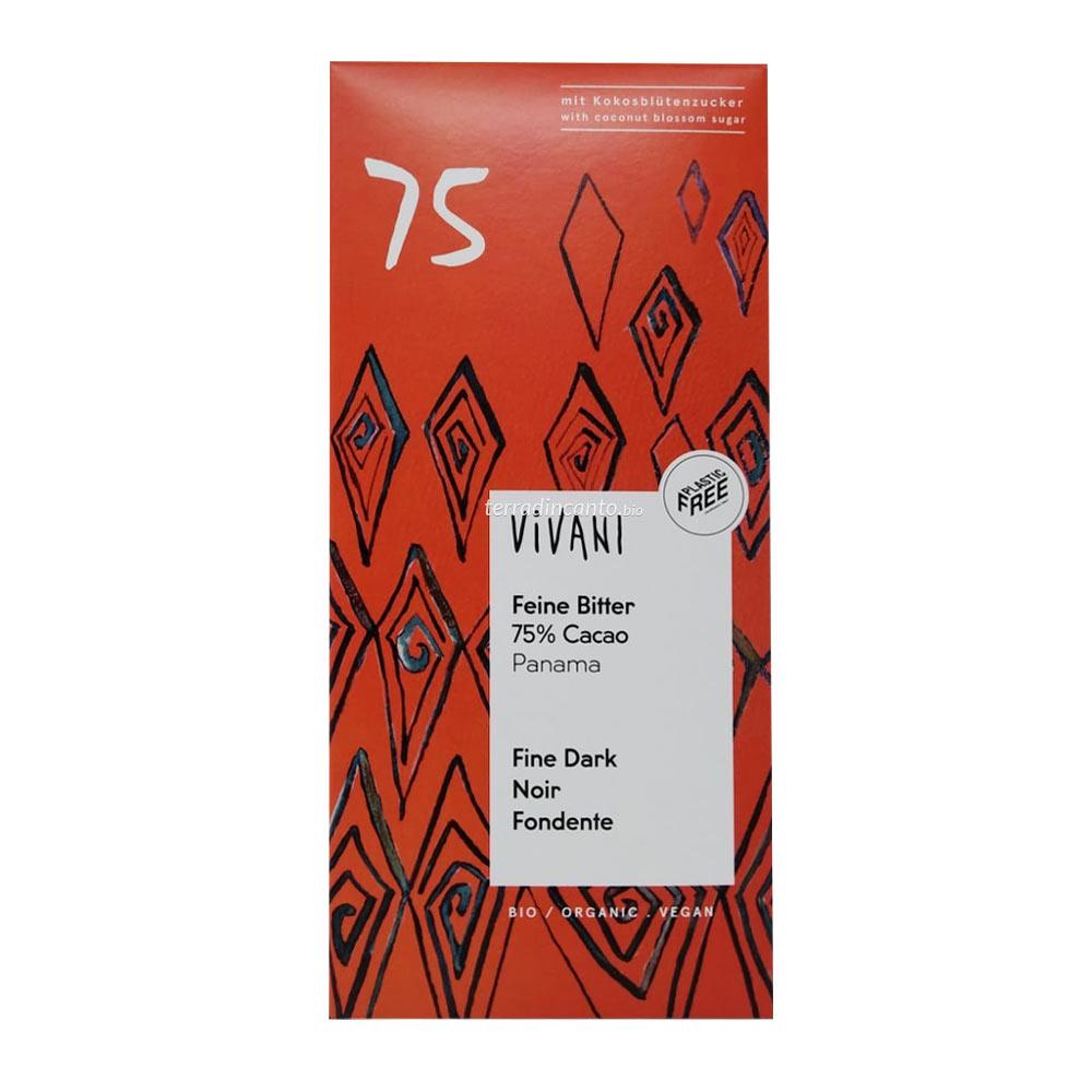 Cioccolato fondente 75% dolcificato con zucchero di fiore di cocco Vivani