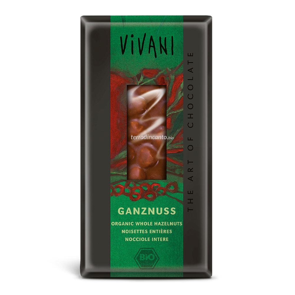 Cioccolato al latte con nocciole intere Vivani