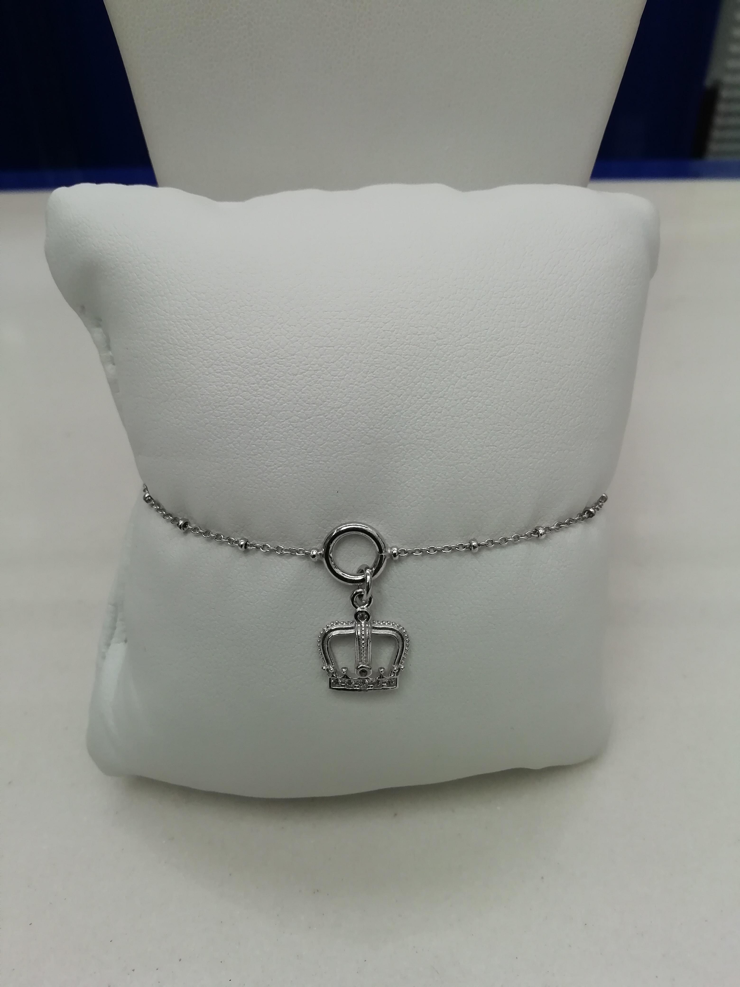 Bracciale names in argento con corona zirconi