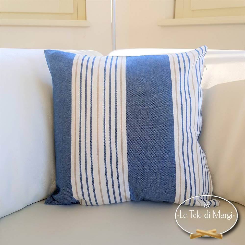 Fodera cuscino 40 x 40 millerighe blu