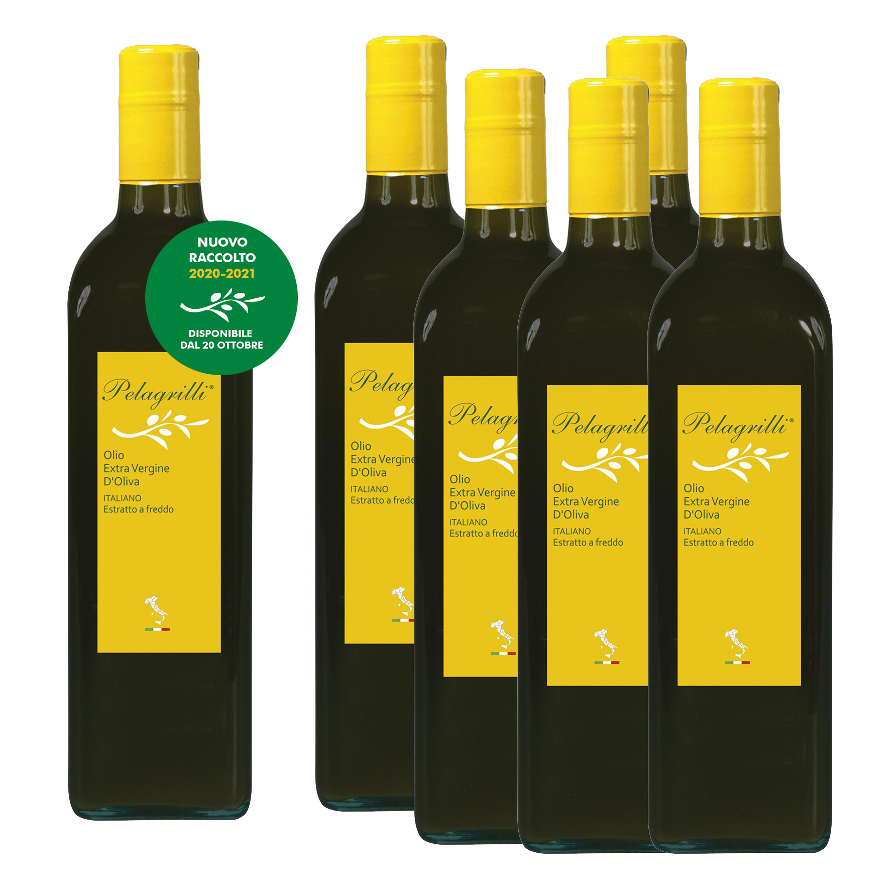 100% ITALIANO - Olio extravergine di oliva - confezione da 6 bottiglie da LT 0,75 ciascuna - Raccolto 2020-2021 - estratto a freddo - FILTRATO