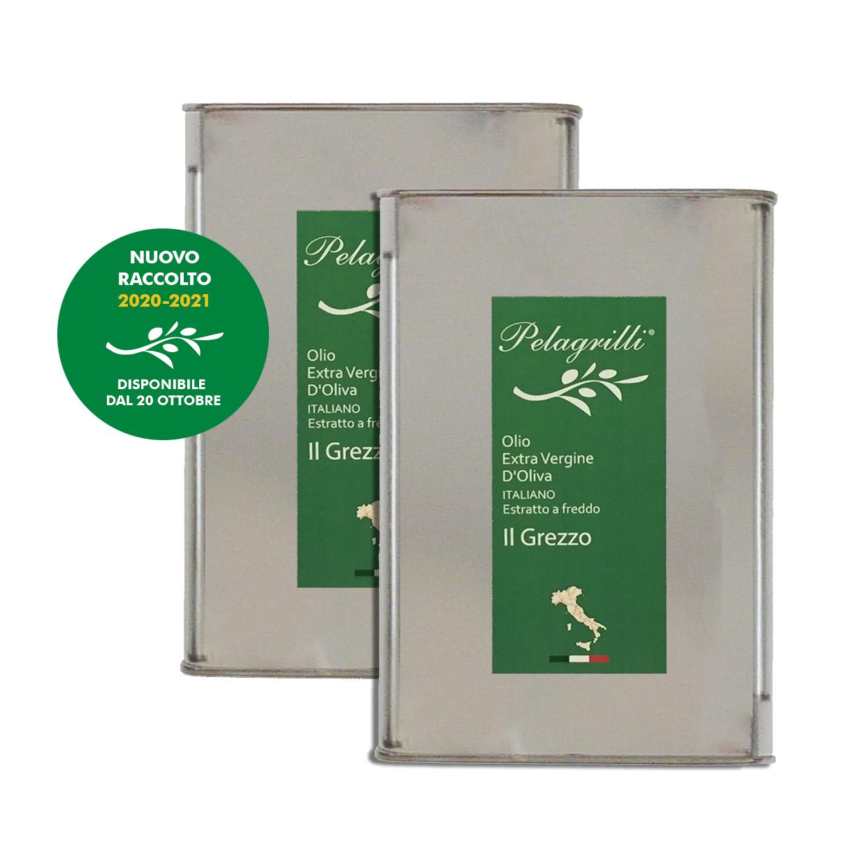 100% ITALIANO - Olio extravergine di oliva - confezione da due lattine da LT 3 ciascuna - Raccolto 2020-2021 - estratto a freddo GREZZO