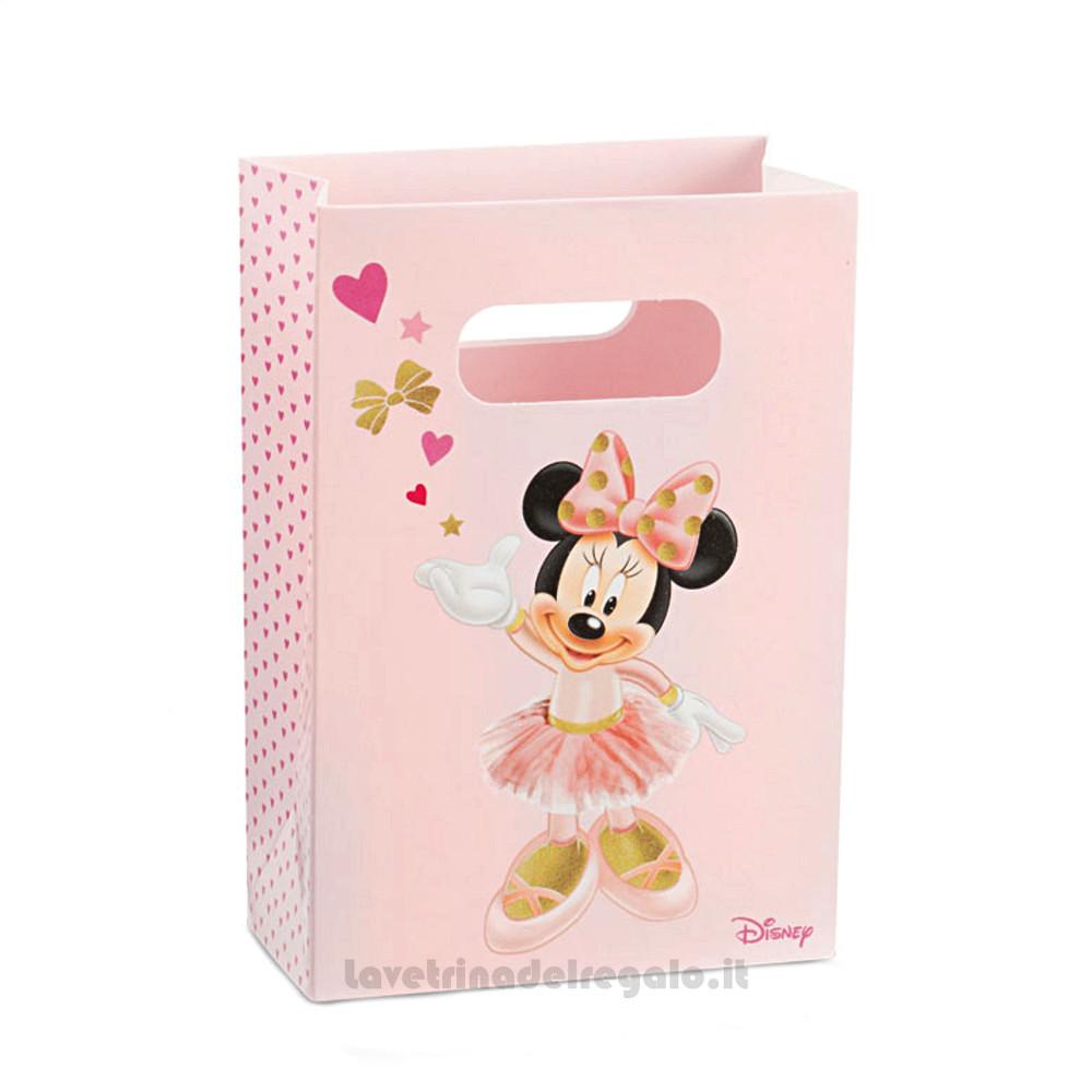 Busta regalo Minnie Ballerina Rosa 10x5x14.5 cm - Buste battesimo bimba