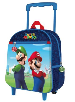 Trolley asilo Super Mario dimensione 28x24x12 cm colore blu