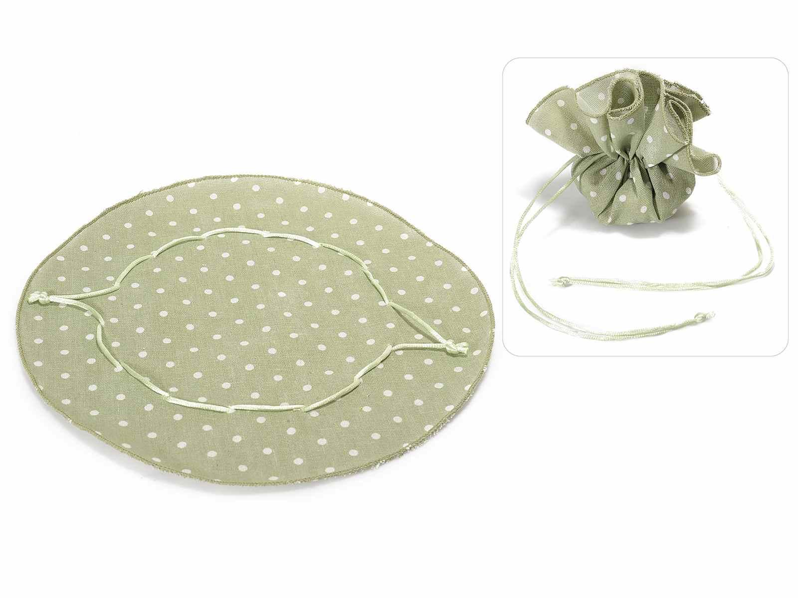 Tulle tondo a sacchetto in cotone verde oliva a pois