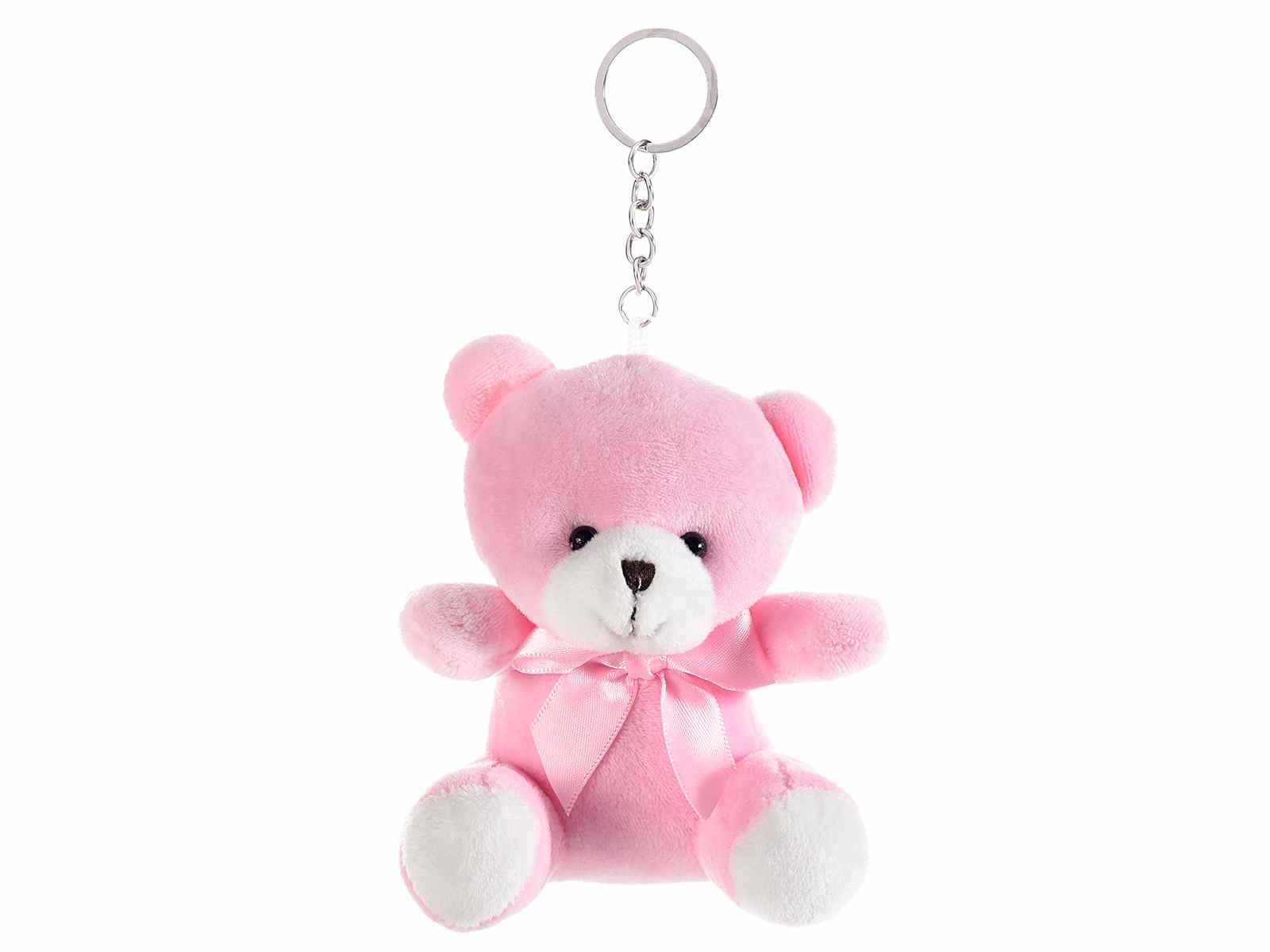 Orsacchiotto in peluche rosa con portachiavi
