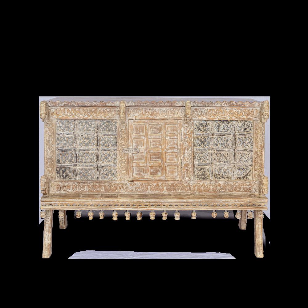 Credenza bassa in legno di teak decapata con antina