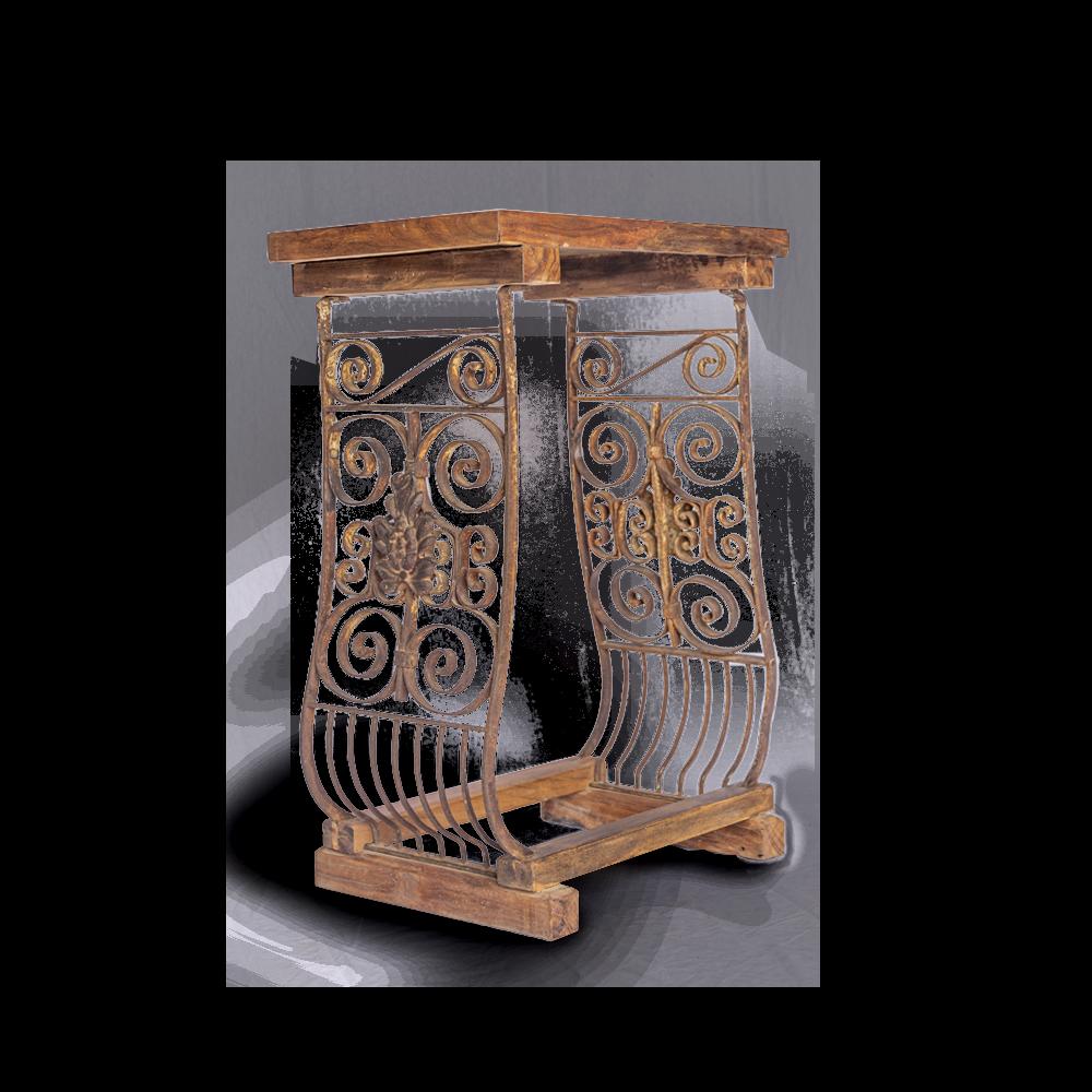 Consolle con recupero inferriate balconi indiani con top in legno di teak