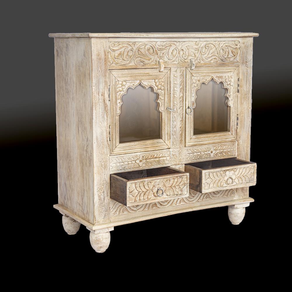 Credenza / Vetrinetta in legno di palissandro indiano decapata white