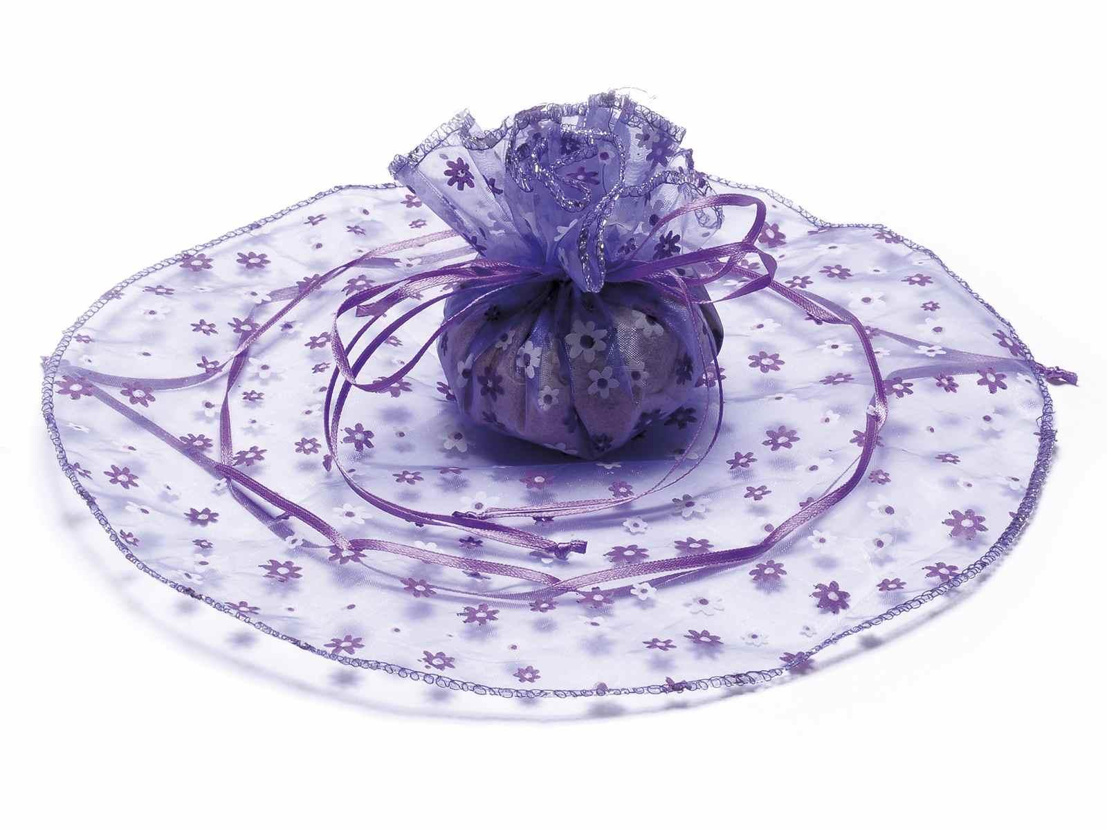 Tulle in organza tondo stampa a fiori viola orchidea con tirante