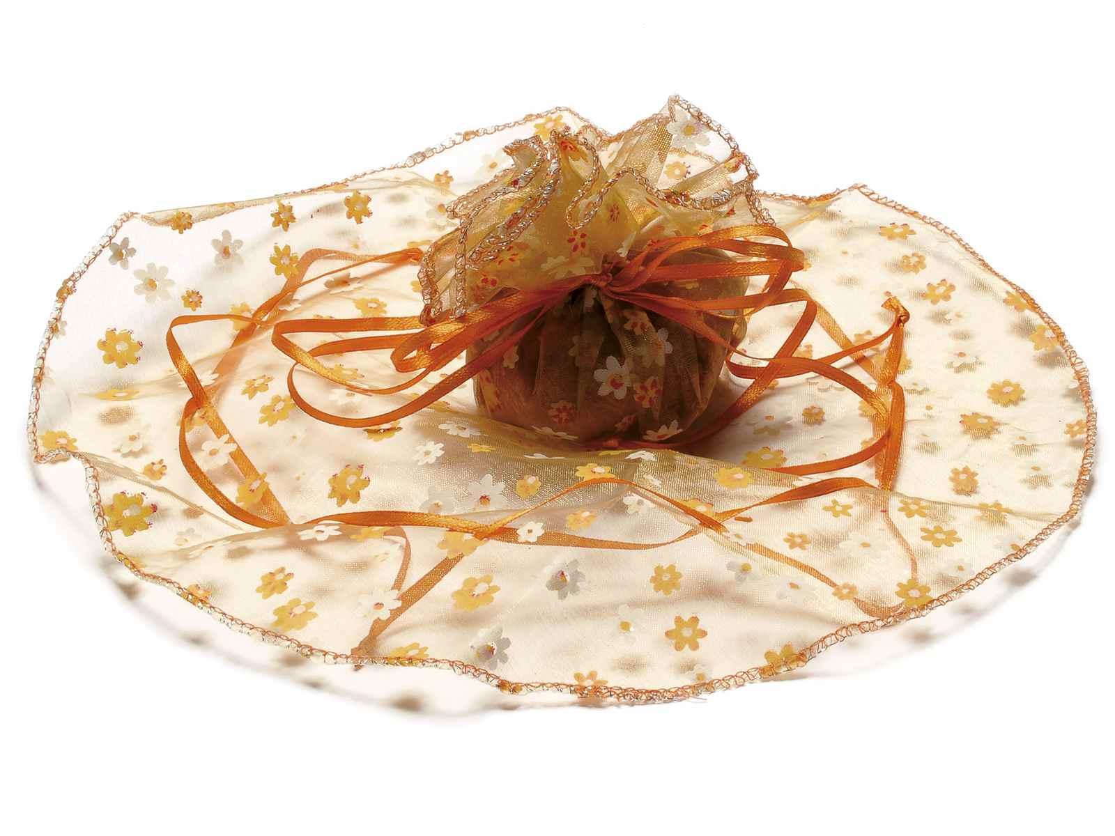 Tulle in organza tondo stampa a fiori arancione fiamma con tirante