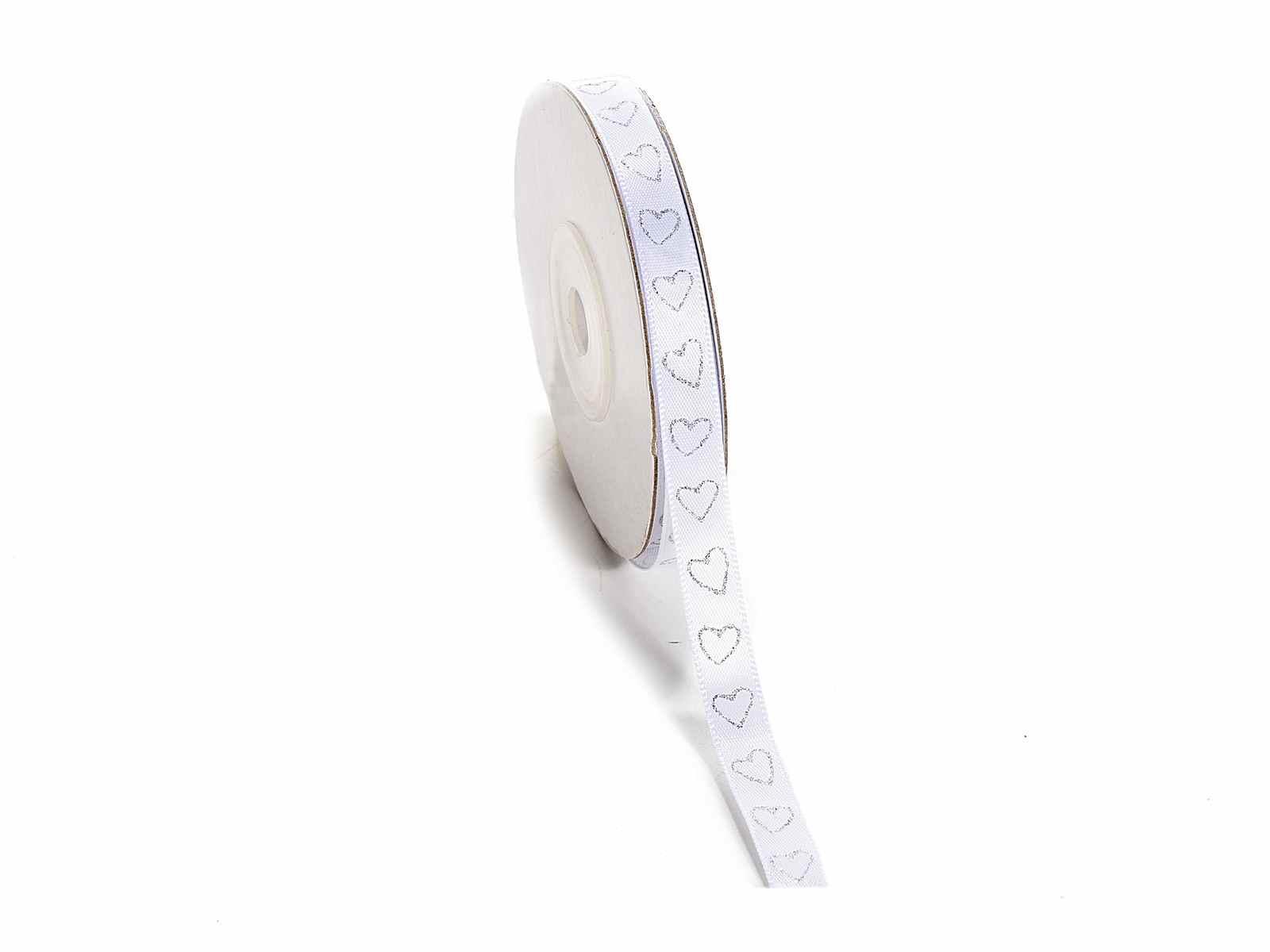 Nastro doppio raso bianco con cuoricini glitterati in argento