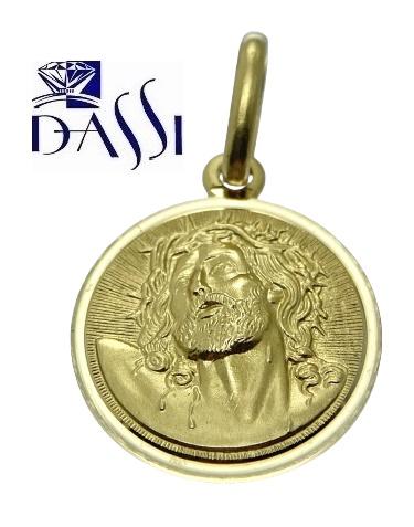 Medaglia religiosa di Gesù coronato di spine, rotonda in oro giallo 18kt