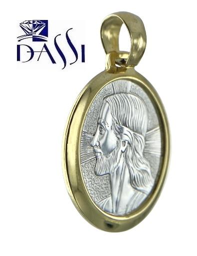 Medaglia religiosa Gesù, ovale in oro giallo e bianco  18kt.