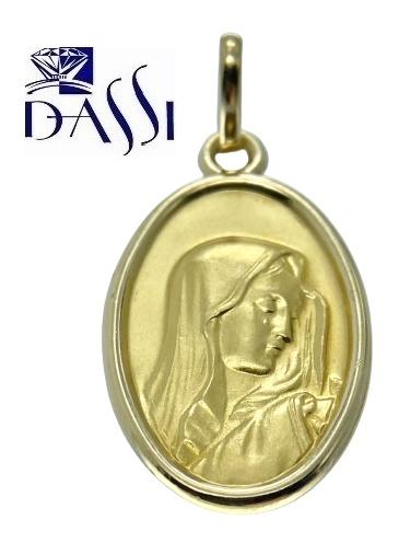 Medaglia religiosa Madonna, ovale in oro giallo 18kt