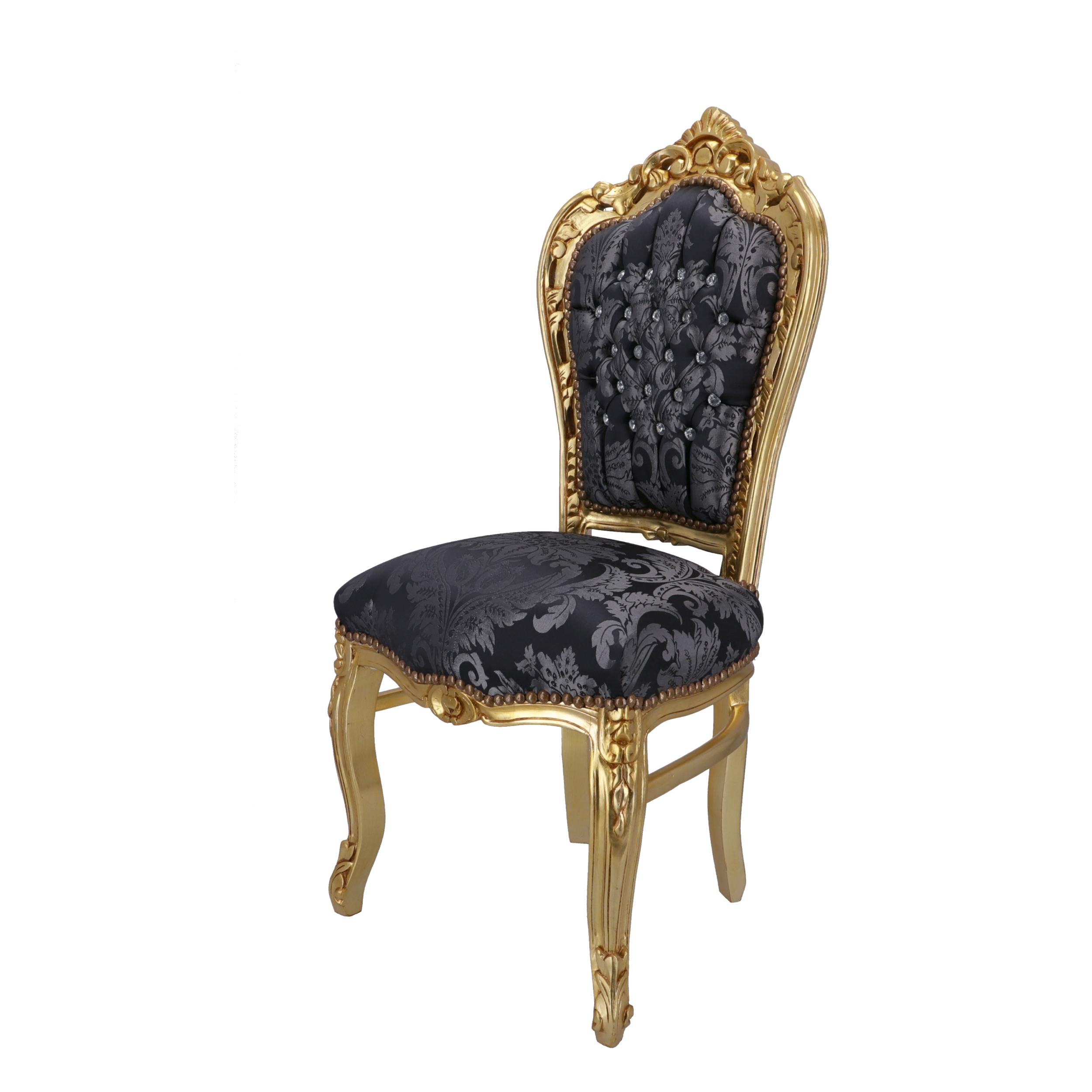 Sedia Barocco Oro e Tessuto Damasco Blu con Gemme