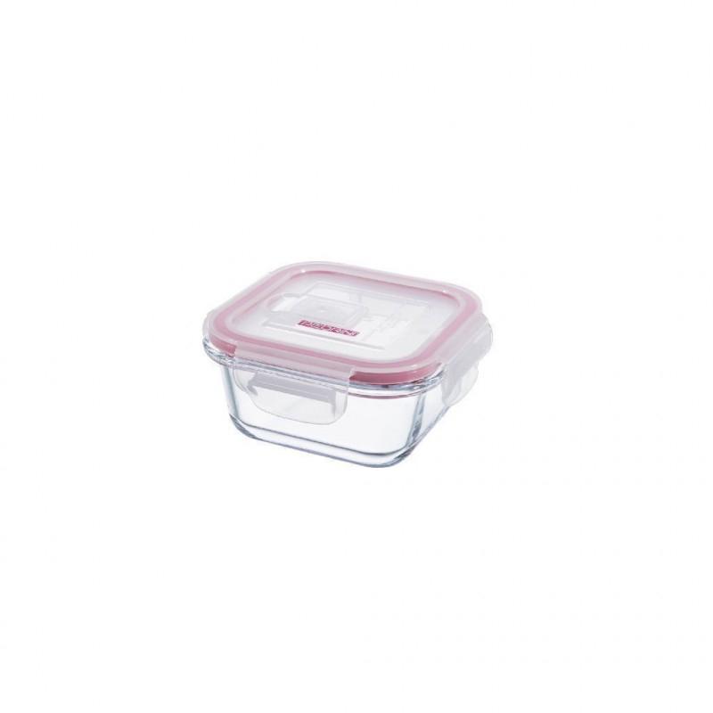 Pedrini Contenitore In Vetro Ermetico 300 Ml Con Coperchio Rosa Trasparente Quadrato per Alimenti