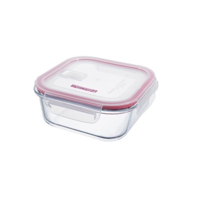 Pedrini Contenitore in Vetro Ermetico Trasparente 1100 ml Quadrato con Coperchio Rosa Trasparente per Alimenti