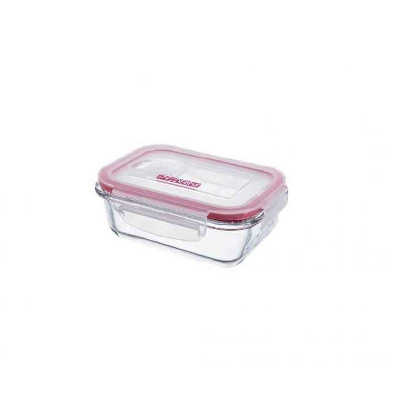 Pedrini Contenitore in Vetro Ermetico Trasparente 380 ml Rettangolare con Coperchio Rosa Trasparente per Alimenti